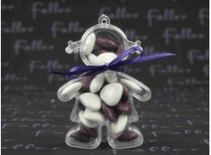 Dragées Baptême - Poupee plexi fille de bapteme avec dragees violet et blanc