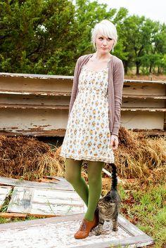 Floral dress, cardigan, green tights