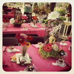 Each table was decorate with the same elements, but they were all slightly different.  The centerpieces were birdcages, stuffed with shredded green paper, silk flowers, bird cage and a bird's nest.  On each side there were fresh Zinna's in vintage vases or pitchers.