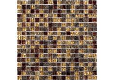 The Inka Glass & Stone Mosaic is a beautiful mix of red and gold glass tiles combined with patterned piece's give this glass mosaic a real distinctive look of the ancient world. Ideal for turning your bathroom or kitchen into a luxurious living space.