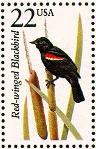 US Stamp Gallery >> Red-winged blackbird Red Wing Blackbird, Commemorative Stamps, World Birds, Art Folder, Bird Cards, Bird Illustration, Outdoor Art, Wildlife Art, Stamp Collecting