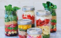 A collection of fresh, zingy, sweet and salty salads that can be stored in a   Mason jar and taken to work for a quick and healthy lunch