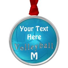 Cute Turquoise PERSONALIZED Volleyball Ornament with 2 Text Boxes to type in Your Text and Monogram or Jersey Number. Great Volleyball Christmas Gifts for girls and women who love volleyball. CALL Linda for Help or Changes: Volleyball Gifts, Christmas Gifts For Girls, Customizable Gifts, Custom Design, Boxes, Monogram, Turquoise, Number, Christmas Ornaments