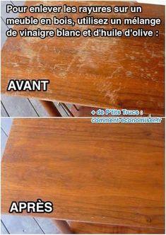 La solution est toute simple pour sauver la table en bois de grand-mère ! L'astuce est d'utiliser un mélange de vinaigre blanc et d'huile d'olive pour enlever les traces. Regardez le résultat :-) Découvrez l'astuce ici : http://www.comment-economiser.fr/rayures-sur-les-meubles-en-bois.html?utm_content=bufferaec70&utm_medium=social&utm_source=pinterest.com&utm_campaign=buffer