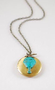 Hot Air Balloon Locket Necklace Vintage Brass