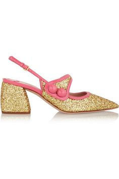 Heel measures approximately 65mm/ 2.5 inches Gold glittered leather, bright-pink patent-leather Buckle-fastening slingback strap Designer color: Gold/ Begonia