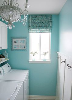 Love this color and chandelier for the utility room!