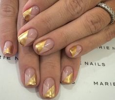 nude and gold negative space nail art