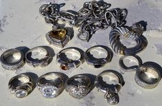 JUDITH RIPKA JEWELRY LOT-DEALERS COLLECTORS DREAM-RINGS NECKLACE PENDANTS