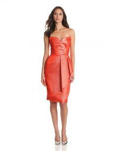 Erin Erin Fetherston Women's Structure Metallic Jacquard Strapless Dress With Wrap Tulip Skirt: