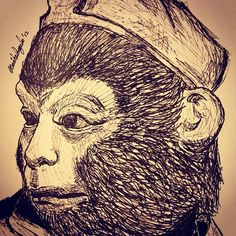 Sketching the Monkey King. A great art illustration.