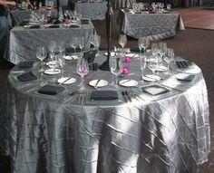 120 Silver/Platinum Pintuck Table Cloths (8) :  wedding pintuck silver platinum gray dark gray tablecloth 120 tablecloth satin polyester reception Gray Silver Pintuck Tablecloths