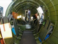 B-17 Flying Fortress Fuselage Interior looking forward from waist gunners position.