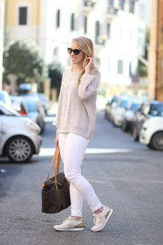 Fresh Neutrals: light gray cable sweater, white ankle jeans, gold and gray New Balance sneakers, Louis Vuitton totally MM monogram tote, neutral outfit for spring, neutral colors, white jeans outfit