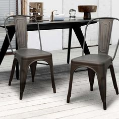 This set of two stylish, iron barstools is a unique, modern addition to your dining room or living room table. They have a sturdy, four-legged design that provides a rustic, yet modern look. This style is available in a variety of colors.