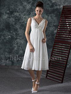 A-Line V-Neck Empire Non-Strapless Tank Chiffon Elastic Silk-like Satin Wedding Dress - WD7161    http://www.helenebridal.com/Wedding-Dresses/WD7161/