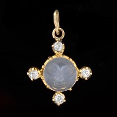 "A. Brandt + Son - Victorian 14kt ""Man in the Moon"" Carved Moonstone & Diamond Pendant"