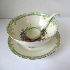 Noritake Bowl Set 3pc  Floral Footed Bowl w/spoon Floral , Hand Painted Vintage  #Noritake