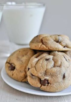 Puffy Peanut Butter Cookies with Chocolate Chips – These cookies are delicious, decadent and stuffed with peanut butter!