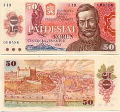 Czechoslovakia Korun banknotes for sale. Dealer of quality collectible world banknotes, fun notes and banknote accessories serving collectors around the world. Over 5000 world banknotes for sale listed with scans and images online. Commemorative Coins, Old Coins, Socialism, Bratislava, Postage Stamps, My Childhood, Diy And Crafts, Memories, World