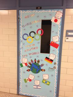 Olympic themed Christmas door. Merry Christmas from around the world.