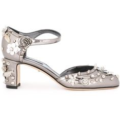 Dolce & Gabbana embellished pumps (17 930 UAH) ❤ liked on Polyvore featuring shoes, pumps, grey, almond toe pumps, chunky-heel pumps, gray shoes, metallic pumps and ankle strap pumps