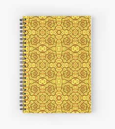 Helices, yellow & brown abstract pattern Notebooks  and Journals by Clipsocallipso Worldwide shipping  Brown helices and dots on shining yellow background. Seamless abstract hand drawn arabesque pattern.   © Clipso-Callipso / Julia Khoroshikh  #yellow #brown #yellowandbrown #helices #arabesque #pattern #abstract #curves #patterndesign #clipsocallipso #printshop #textiledesign #apparel  #yellowaesthetic #redbubble  #notebook #journal #stationery #stationary #stationeryaddict