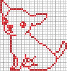 Chihuahua pattern for my giant animal park. Simple Cross Stitch, Cross Stitch Charts, Cross Stitch Designs, Cross Stitch Patterns, Intarsia Knitting, Knitting Charts, Knitting Patterns, Pixel Crochet, Clothes Crafts