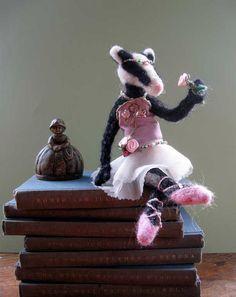 Badger Ballerina handmade doll. At IVANinHISgarden on Etsy.