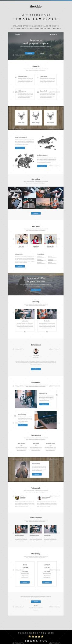 Aldo – Multipurpose Email Template Free Website Templates, Email Templates, Newsletter Templates, Infographic Templates, List Template, Aldo, Layout, Graphic Design