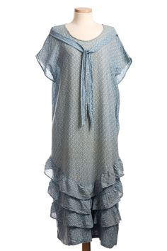 Printed blue crepe dress, homemade, 1920s. From the Cox-Gordon collection at the Charleston Museum.