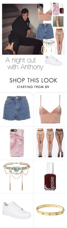 """""""Anthony Trujillo"""" by hayleembrown ❤ liked on Polyvore featuring Topshop, Fleur du Mal, Miss Selfridge, Essie, NIKE and Cartier"""