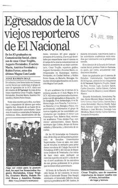 Egresaron de la UCV viejos reporteros de El Nacional. Publicado el 24 de julio de 1991.