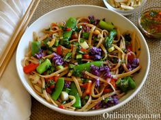 Asian+Pasta+Salad+with+Kale,+Cabbage,+Asparagus+and+Sugar+Snap+Peas - Don't use the oil!