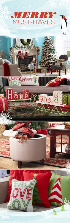 Liven up your living room sofa with a spread of styles featuring festive phrases and merry motifs. Company's coming, so style a cozy space with plenty of seating and lighting. Visit Wayfair and sign up today to get access to exclusive deals everyday up to 70% off. Free shipping on all orders over $49. Merry Markdowns Christmas sale ends 12/31/15.