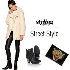 Cosy Cover.... A soft #shearling coat will keep you cosy #boots #leathertrousers #LFW #NYFW #StreetStyle