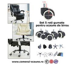 Set 5 roti pentru scaune de birou ergonomice si clasice Stationary