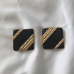 Givenchy Clip On Earrings Black and gold tone square clip ons. 1 1/4 inch each side . Givenchy Jewelry Earrings