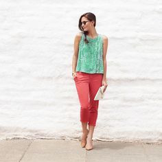 This summer, try an unexpected chino color—like chili flake red. Instead of a neutral top, go for a complimentary color like green or marigold. #StylistTip