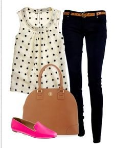 Love the bright shoes and the polka dots!!