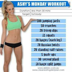 Ashy Bines - Monday Workout: Ok Girls lets kick off our week with a bang! Start fresh, stay focused, be prepared and make this week the beginning of the new you! Monday Workout, Workout Log, Workout Challenge, Workout Plans, Get In Shape, Excercise, Stay Fit, How To Stay Healthy, Fitness Inspiration