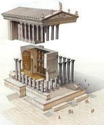 Ricostruzione digitale del Tempio di Venere Genitrice, fatto edificare da Cesare nel 46 a.C. Nel foro di Cesare