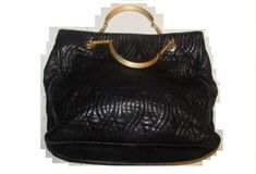 2077b7ebd47e  pasta  Tote Style Purses Supple Black Quilted Leather with Curvy Pasta Or  Noodle Like Design and Two Chain and Leather Toggle Strap Handles Satchel