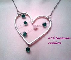 Handmade pendant made of silver chain with by thenkcreations