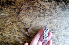 Dusty brown waxed cord macrame crochet necklace with large
