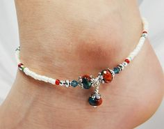 Anklet, Ankle Bracelet, Turquoise Blue Red Agate with Dangle, Teal Blue Swarovski Crystals, Beaded, Customizable, Wedding, Beach, Vacation