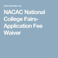 Nacac fee waiver online dating