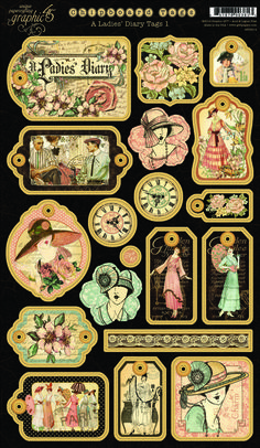 A Ladies' Diary Chipboard Die-Cut Tags 1from our new collection A Ladies' Diary! In stores in June #graphic45
