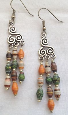 Paper+Bead+Chandelier+Earrings+With+Autumn+by+PaperRoseJewelry,+$26.00