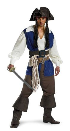 Deluxe Captain Jack Sparrow Shirt with attached vest, fabric sash, two belts with attached buckles, pants and boot covers. Also includes hat and bandana with beaded braids. (toy weapon not included)